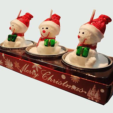 karácsonyi gyertya aranyos hóember alakú 3db