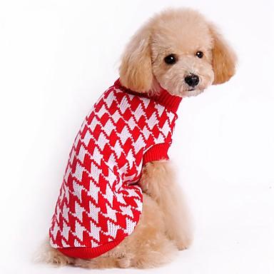 고양이 강아지 스웨터 크리스마스 강아지 의류 귀여운 캐쥬얼/데일리 스트라이프 블랙 레드 코스츔 애완 동물