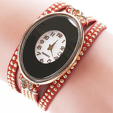 Bayanların Moda Saat Bilezik Saat Quartz PU Bant Eski Tip Günlük Siyah Beyaz Kırmızı Kahverengi Yeşil PembeSiyah Kahverengi Kırmzı Yeşil