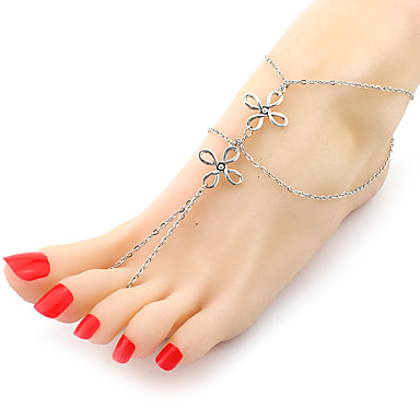 Kadın's Ayak bileziği / Bilezikler alaşım Moda Çift katman Çoklu Katman Mücevher Uyumluluk Parti Günlük