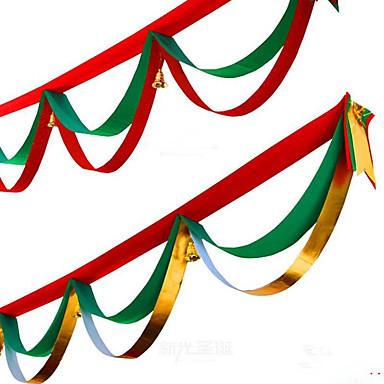 1db véletlenszerű színeket karácsonyi dekoráció házibuli átmérője 400cm navidad új év kellékek karácsonyi zászlók selyem szalag