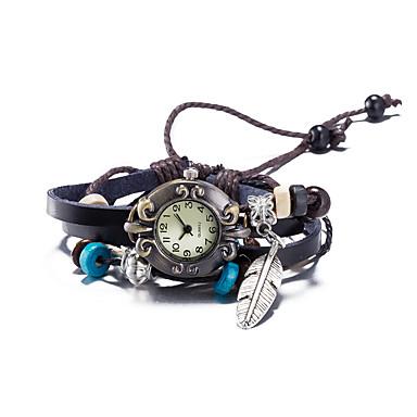 Kadın's Bilek Saati Bilezik Saat Moda Saat Quartz Su Resisdansı Deri Bant Vintage Bohem Halhal Kahverengi