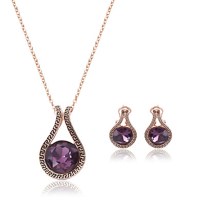 نساء مجموعة مجوهرات ترف زفاف حزب يوميا فضفاض تقليد الماس 1 قلادة 1 زوج من الأقراط