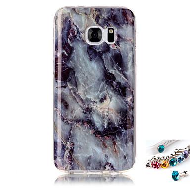 Pouzdro Uyumluluk Samsung Galaxy S7 edge S7 IMD Temalı Arka Kapak Mermer Yumuşak TPU için S7 edge S7 S6 edge S6 S5 S4 S3