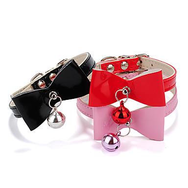 كلب ياقة قابل للسحبقابل للتعديل Bell قلوب ببيونة جلد PU أسود أحمر زهري