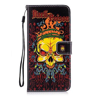Için Cüzdan / Kart Tutucu / Satandlı / Flip Pouzdro Arka Kılıf Pouzdro Kafatası Sert PU Deri için AppleiPhone 7 Plus / iPhone 7 / iPhone