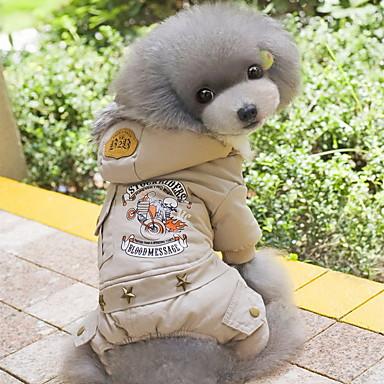 Chien Manteaux Pulls à capuche Combinaison-pantalon Vêtements pour Chien Lettre et chiffre Gris Vert Coton Costume Pour les animaux