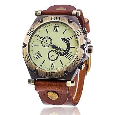 levne Pánské-Pánské Náramkové hodinky Kůže Černá / Bílá / Modrá Cool Punk Analogové Klasické Vintage Na běžné nošení Módní - Zelená Modrá Tmavě červená Jeden rok Životnost baterie