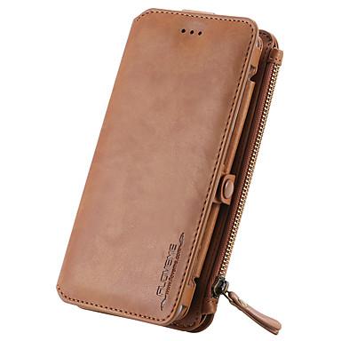 tok Για Samsung Galaxy Θήκη καρτών Πορτοφόλι με βάση στήριξης Πλήρης Θήκη Συμπαγές Χρώμα Σκληρή γνήσιο δέρμα για Note 5 Note 4 Note 3