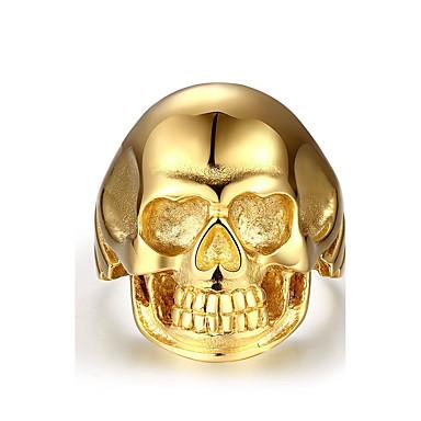 Yüzük Paslanmaz Çelik Skull shape Altın Mücevher Halloween Günlük Spor 1pc