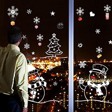 크리스마스 만화 휴일 벽 스티커 플레인 월스티커 데코레이티브 월 스티커 웨딩 스티커 홈 장식 벽 데칼 벽 유리 / 욕실