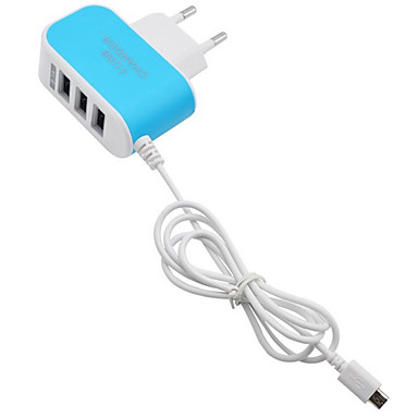 Domácí nabíječka / Přenosná nabíječka Nabíječka USB EU zásuvka Rychlé nabíjení / Více portů 3 USD porty 3.1 A pro