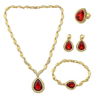 Γυναικεία Στρας Κοσμήματα Σετ 1 Κολιέ 1 Ζευγάρι σκουλαρίκια 1 Βραχιόλι 1 Δαχτυλίδι - Κόκκινο Σετ Κοσμημάτων Για Γάμου Πάρτι Καθημερινά