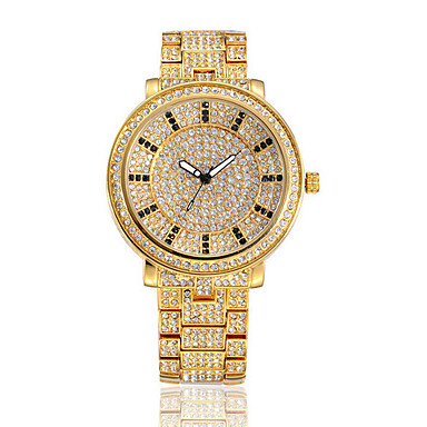 여성용 팔찌 시계 패션 시계 캐쥬얼 시계 석영 방수 크리스탈 스테인레스 스틸 밴드 스파클 캐쥬얼 골드