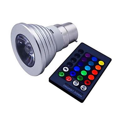 E14 GU10 B22 E26/E27 LED szpotlámpák MR16 1 led Nagyteljesítményű LED Tompítható Távvezérlésű Dekoratív RGB 110lm RGBK AC 85-265V