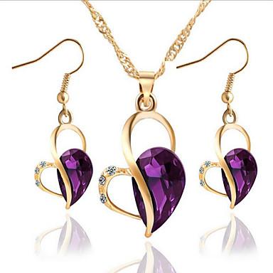 Per donna Cristallo / Diamante sintetico Parure di gioielli - Cuori Includere Viola / Verde / Blu Per Feste / Quotidiano