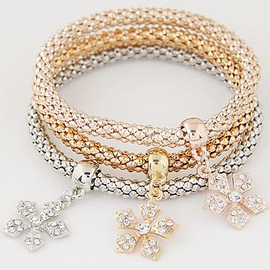 여성용 참 팔찌 사치 유럽의 미니멀 스타일 패션 멀티 레이어 라인석 모조 다이아몬드 합금 보석류 선물 일상