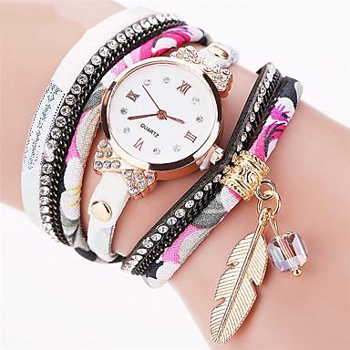 Damskie Zegarek na nadgarstek Zegarek na bransoletce Do sukni/garnituru Modny Kwarcowy Kolorowy Punk Tkanina Pasmo Urok Błyszczące Liście