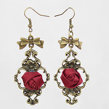 Kolczyki wiszące Europejski Koronka Stop Purple Czerwony Różowy Biżuteria Na Ślub Impreza Codzienny Casual 1 para