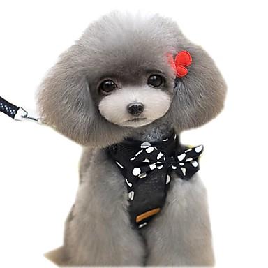 Γάτα Σκύλος Εξαρτύσεις Λουριά Moale Ασφάλεια Τρέξιμο Veste Καθημερινά Μονόχρωμο Πουά Χαρακτήρας Ύφασμα Μαύρο Κόκκινο