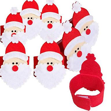 산타 클로스 냅킨 링의 4 개 부직포 냅킨 세트