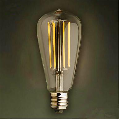 1szt 320lm E26 / E27 Żarówka dekoracyjna LED ST64 4 Koraliki LED COB Dekoracyjna Ciepła biel 220-240V