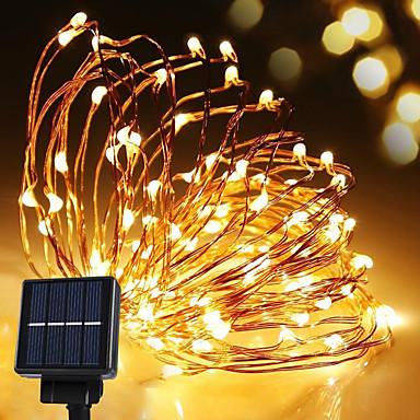 lampa solarna string light wodoodporna taśma led 10m 100led lampa drut miedziany ciepły biały do dekoracji na zewnątrz światła