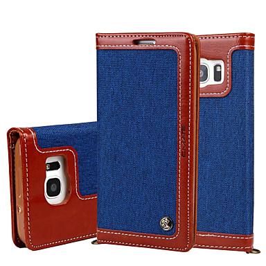 Mert Pénztárca / Kártyatartó / Állvánnyal / Flip Case Teljes védelem Case Egyszínű Kemény Textil Samsung S7 edge / S7