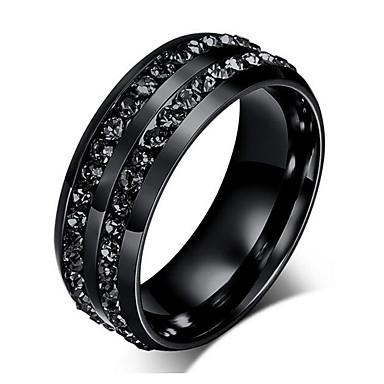 Męskie Pierscionek Rhinestone luksusowa biżuteria Kryształ górski Stal tytanowa Imitacja diamentu Biżuteria Na Impreza Codzienny Casual