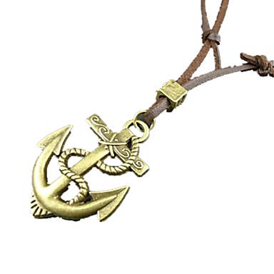 Erkek Uçlu Kolyeler Cross Shape Mücevher Çapa Deri alaşım Eşsiz Tasarım Moda Altın Mücevher Için Günlük 1pc