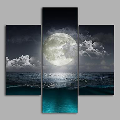 ieftine Wall Art-Imprimeu Imprimate în rulouri de pânză - Peisaj Modern Trei Panouri Tablouri de artă