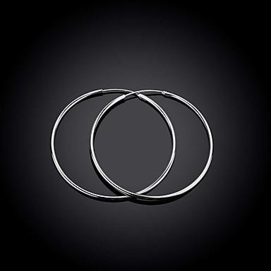 Kadın Halka Küpeler Küpe Moda Bakır Gümüş Kaplama Circle Shape Geometric Shape Mücevher Düğün Parti Günlük Spor
