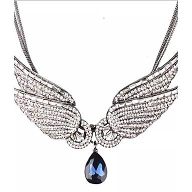 Kadın Uçlu Kolyeler imitasyon Pırlanta Kanatlar / Tüy Yapay Elmas alaşım Kişiselleştirilmiş Moda Avrupa Gri Mavi Mücevher IçinParti