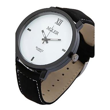 للمرأة للرجال ساعة المعصم كوارتز جلد فرقة أسود