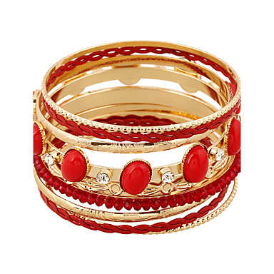نساء أساور التفاف سبيكة تقليد الماس أسلوب بانك أبيض أسود أحمر أخضر مجوهرات 1PC