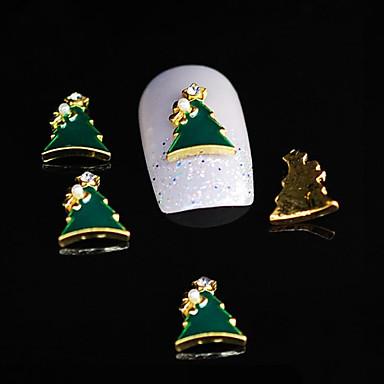 10pcs dimond Weihnachtsbaum 3d Legierung Nagel Strass DIY Nagelkunstdekoration