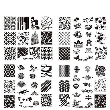 Bloem - Vinger / Teen - Andere versieringen - Metaal - 10pcs nail plate - stuks 6.2cmX6.2cm each piece - (cm)