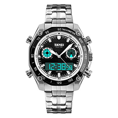 SKMEI Erkek Elbise Saat Moda Saat Quartz LED Takvim Kronograf Su Resisdansı Çift Zaman Bölmeli alarm Kronometre Gece Parlayan Paslanmaz