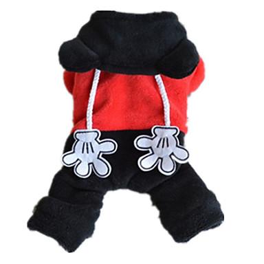 Σκύλος Φόρμες Ρούχα για σκύλους Χαριτωμένο Καθημερινά Ζώο Μαύρο/Κόκκινο