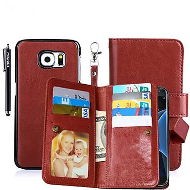 hoesje Voor Samsung Galaxy Kaarthouder Portemonnee met standaard Flip Magnetisch Volledig hoesje Effen Kleur Hard PU-nahka voor S8 Plus