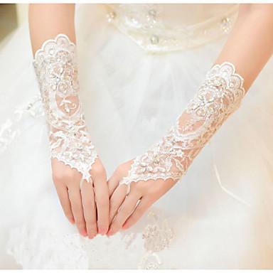 Tule Até o Pulso Luva Luvas de Noiva With Pedrarias