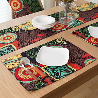 Neliö Kukka Painettu Patterned Placemats , Cotton Blend materiaali Hotel ruokapöytä Taulukko Dceoration