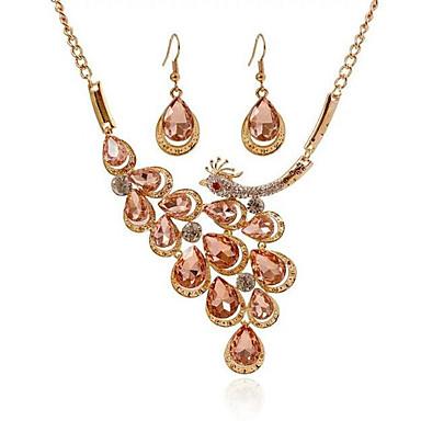 للمرأة الماس الاصطناعية مجموعة مجوهرات - صليب, الطاووس موضة تتضمن أبيض / بني فاتح من أجل حزب / يوميا