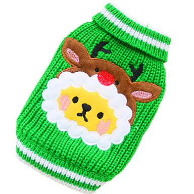 Σκύλος Πουλόβερ Ρούχα για σκύλους Καθημερινά Διατηρείτε Ζεστό Χριστούγεννα Άνθινο / Βοτανικό Κόκκινο Πράσινο