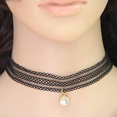 Naisten Pyöreä Vintage Muoti Eurooppalainen Choker-kaulakorut Collar Synteettiset jalokivet Pitsi Choker-kaulakorut Collar , Party