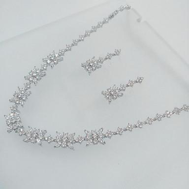Mücevher Kolyeler Kolczyki Parti Zirkon 1set Kadın Gümüş Düğün Hediyeleri