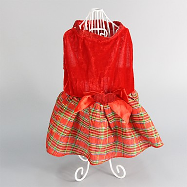 Σκύλος Φορέματα Ρούχα για σκύλους Cute Μοντέρνα Διατηρείτε Ζεστό Χριστούγεννα Καρό/Τετραγωνισμένο Κόκκινο