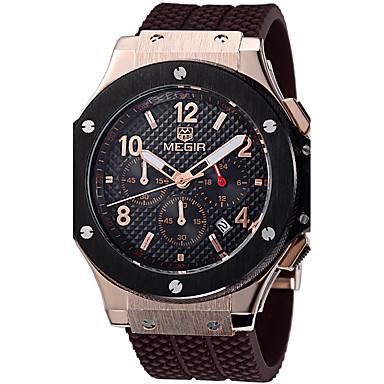 MEGIR Męskie Zegarek na nadgarstek Wojskowy Modny Sportowy Kwarcowy Na codzień Skóra naturalna Pasmo Luksusowy Vintage Na co dzień