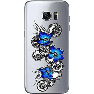Pouzdro Uyumluluk Samsung Galaxy S7 edge S7 Ultra İnce Şeffaf Temalı Arka Kılıf Çiçek Yumuşak TPU için S7 edge S7 S6 edge plus S6 edge S6