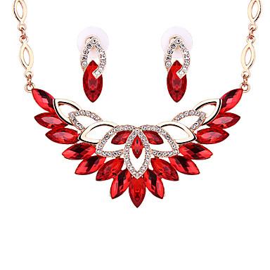 Damskie Kryształ Kryształ Biżuteria Ustaw 1 parę kolczyków Naszyjniki - Czerwony Transparent Jasnobrązowy Zestawy biżuterii Na Ślub